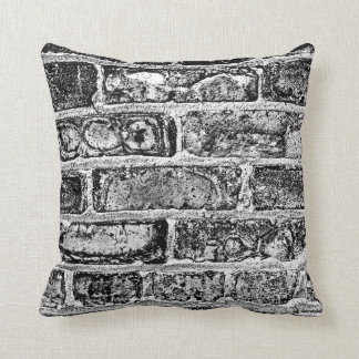 Brick Wall in Black & White Pillows