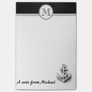 Brick wall nautical  anchor monogram post-it notes