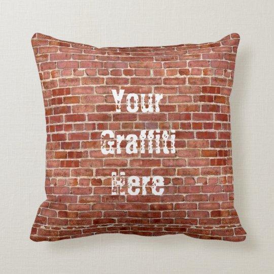 Brick Wall Personalized Add Your Graffiti pillow