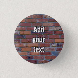 Brick wall - red mixed bricks and mortar 1 inch round button