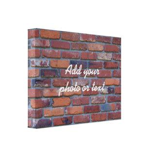 Brick wall - red mixed bricks and mortar canvas print