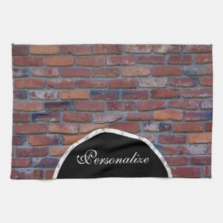 Brick wall - red mixed bricks and mortar kitchen towel