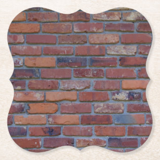 Brick wall - red mixed bricks and mortar paper coaster