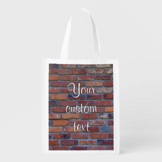 Brick wall - red mixed bricks and mortar reusable grocery bag