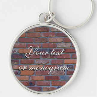 Brick wall - red mixed bricks and mortar Silver-Colored round keychain