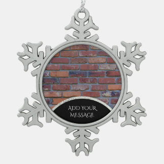 Brick wall - red mixed bricks and mortar snowflake pewter christmas ornament