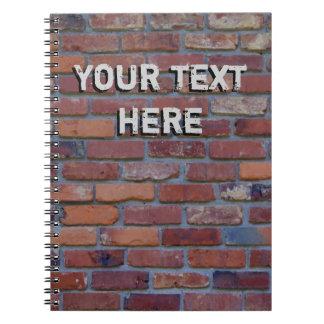 Brick wall - red mixed bricks and mortar spiral notebook