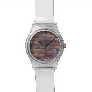 Brick wall - red mixed bricks and mortar watch