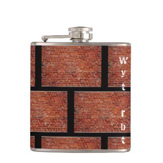 Brick wall tiled hip flask