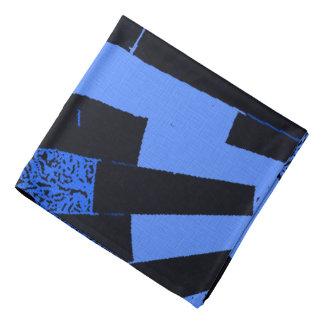 Bricks and curves, dark colors pattern, blue black bandana