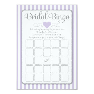 Bridal Bingo Lavender Gray Bridal Shower Game Card