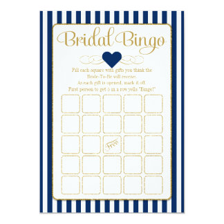 Bridal Bingo Navy Blue Gold Bridal Shower Game Card