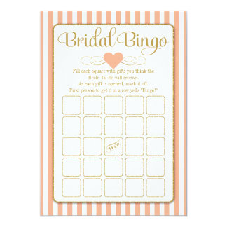 Bridal Bingo Peach Gold Bridal Shower Game Cards