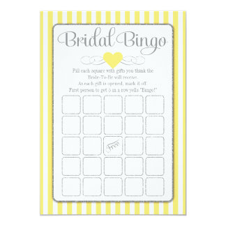Bridal Bingo Yellow Gray Bridal Shower Game Card