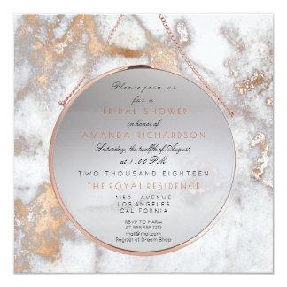 Bridal Birthay Blush Rose Pink Gray Marble White Card