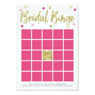"Bridal Bling Gold | Bridal Shower BINGO Game 5"" X 7"" Invitation Card"