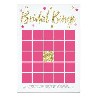 "Bridal Bling Gold | Bridal Shower BINGO Game 5"" X 7"" Invitation Card"