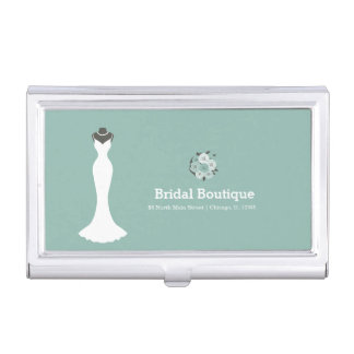 Bridal Boutique - Choose your background color Business Card Holder