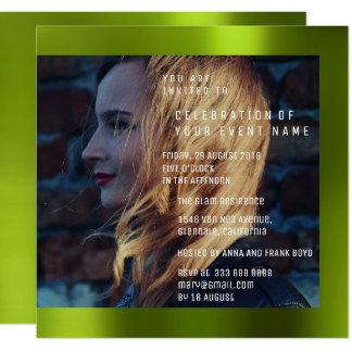 Bridal Foto Graduation Birthday Cali Green Metal Card