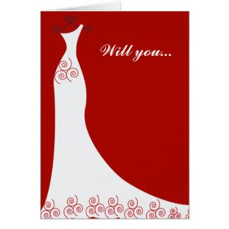 Bridal Gown Custom Bridesmaid Greeting Card