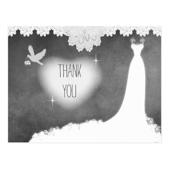 Bridal Gown on Chalkboard with Lace & White Dove Postcard