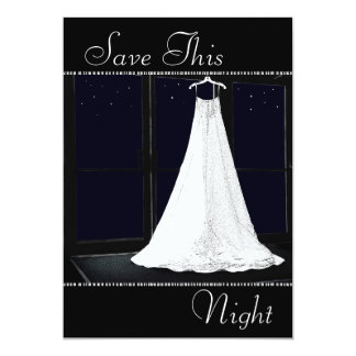 "Bridal Gown Starry Night Winter Save the Date 5"" X 7"" Invitation Card"