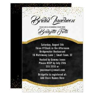 Bridal Luncheon | Black Gold Glitter Bridal Shower Card