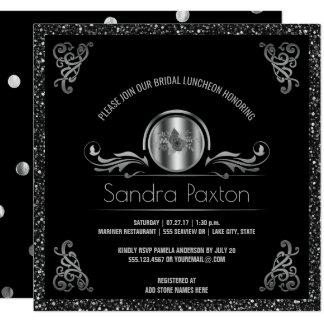 Bridal Luncheon Black Silver Wedding Bridal Shower Card