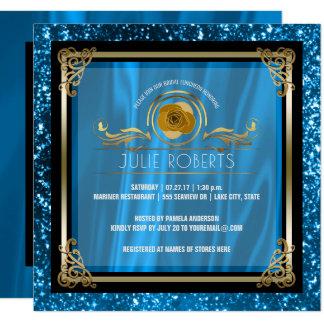 Bridal Luncheon Blue Gold   Wedding Bridal Shower Card