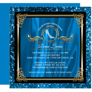Bridal Luncheon Blue Gold | Wedding Bridal Shower Card