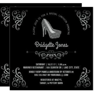 Bridal Luncheon Elegant Silver   Wedding Shower Card