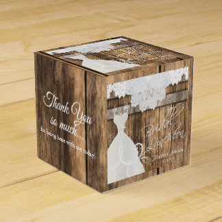 Bridal Luncheon in Rustic Wood and Lace Design Favor Box