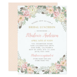 Bridal Luncheon Invitation   Spring Vintage Boho