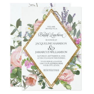 Bridal Luncheon Rose Gold Floral Elegant Romantic Card