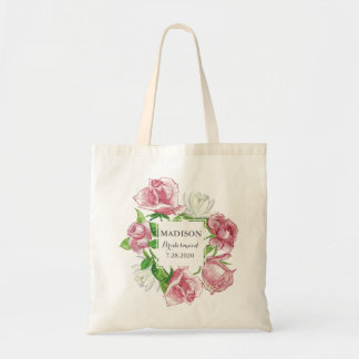 Bridal Party Blush Rose Floral Wedding Custom Tote Bag