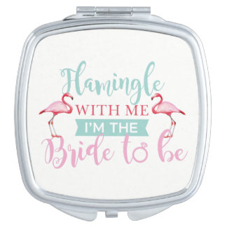 Bridal Party Custom Team Bride Flamingle Mirror Travel Mirror