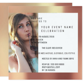 Bridal Party Foto Geometry Copper Rose Metallic Card