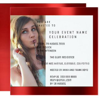 Bridal Party Foto Geometry Red Ruby Metallic Card