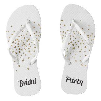 Bridal Party Gold Heart Flip Flops