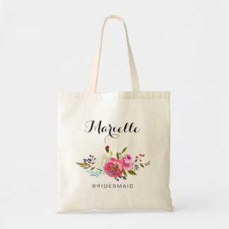 Bridal Party Wedding Tote Bag Watercolor Floral