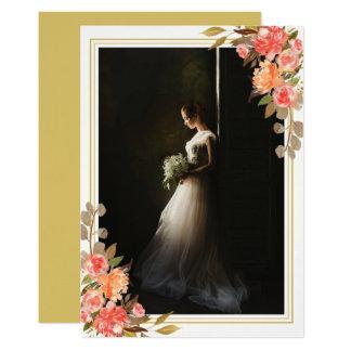 Bridal Portrait Floral Photo Keepsake Fall Wedding Card