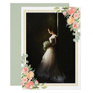 Bridal Portrait Floral Photo Keepsake Wedding Card