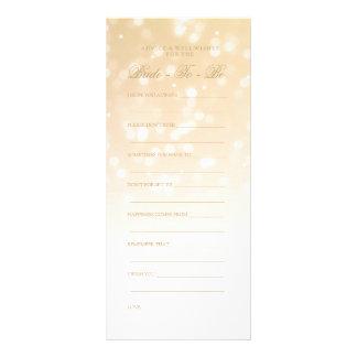 Bridal Shower Advice Card Gold Bokeh Sparkle Light Rack Card Design