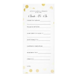 Bridal Shower Advice Cards Faux Gold Foil Glitter Full Color Rack Card