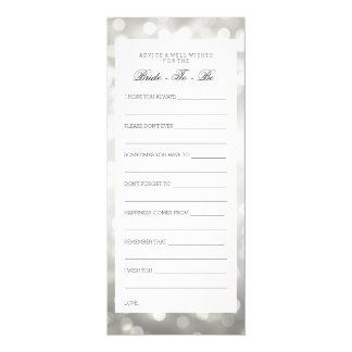 "Bridal Shower Advice Cards Silver Glitter Lights 4"" X 9.25"" Invitation Card"
