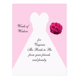 Bridal Shower Advice Post Cards - Bridal Gown