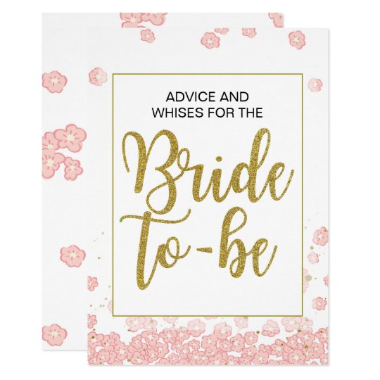 Bridal Shower Advice Sign | Pink and Gold Card