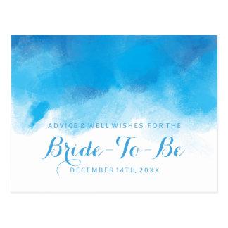 Bridal Shower Advice Summer Wedding Blue Watercolo Postcard