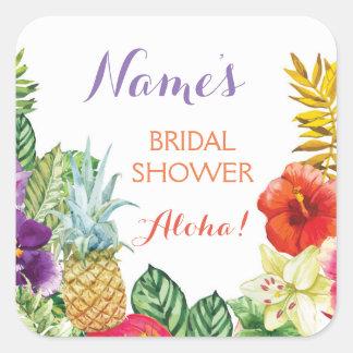 Bridal Shower Aloha Luau Tiki Stickers Labels