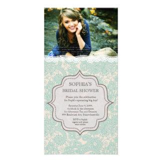 Bridal Shower Aqua Brown Lace Paisley Photo Invite